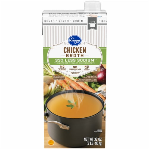 Kroger® Reduced Sodium Chicken Broth Perspective: front