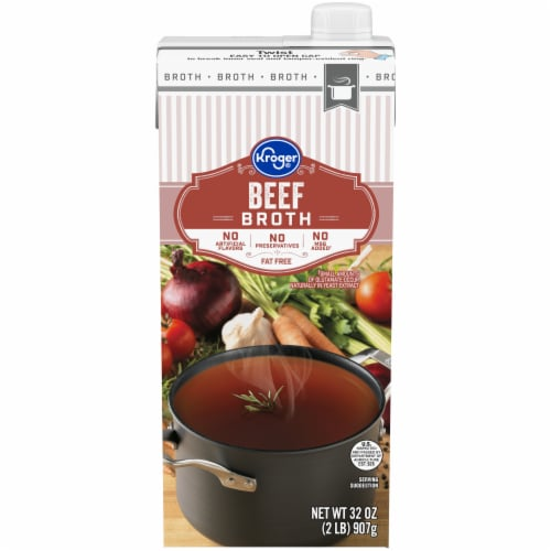 Kroger® Fat Free Beef Broth Perspective: front