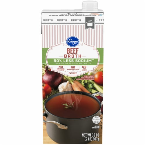 Kroger® Fat Free 50% Less Sodium Beef Broth Perspective: front