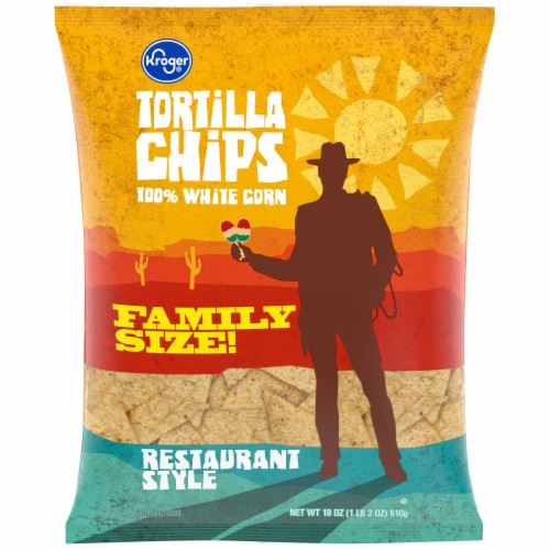 Kroger® 100% White Corn Restaurant Style Tortilla Chips Perspective: front