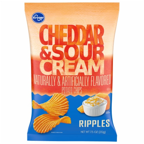 Kroger®  Ripples Gluten Free Cheddar & Sour Cream Potato Chips Perspective: front