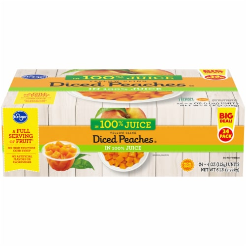 Kroger® Yellow Cling Diced Peaches in Juice 24 Count Perspective: front