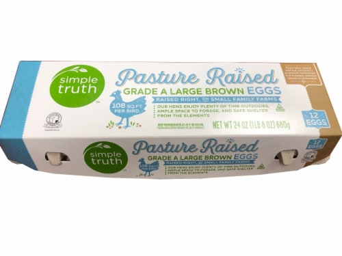 Simple Truth Pasture Raised Grade A Large Brown Eggs Perspective: front