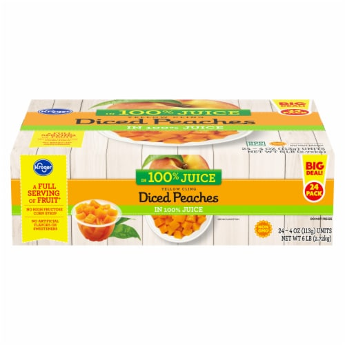 Kroger® Yellow Cling Diced Peaches Fruit Cups Family Pack Perspective: front