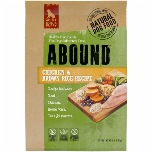 Abound Chicken & Brown Rice Recipe Dry Dog Food Perspective: front