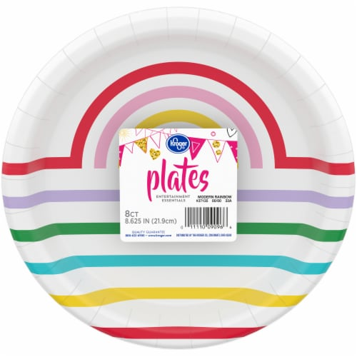 Kroger® Entertainment Essentials Modern Rainbow 9-Inch Party Paper Plates Perspective: front