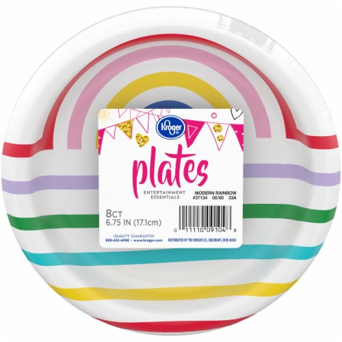 Kroger® Entertainment Essentials Modern Rainbow 7-Inch Party Paper Plates Perspective: front
