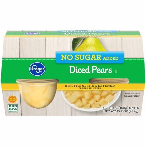 Kroger® No Sugar Added Diced Pear Cups Perspective: front