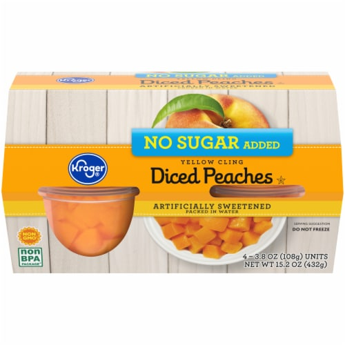 Kroger® Diced Peaches with Splenda Fruit Cups 4 Count Perspective: front