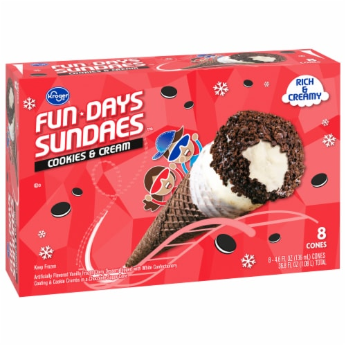 Kroger® Fun Days Sundaes Cookies & Cream Cones 8 Count Perspective: front