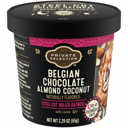 Private Selection™ Belgian Chocolate Almond Coconut Oatmeal Cup Perspective: front