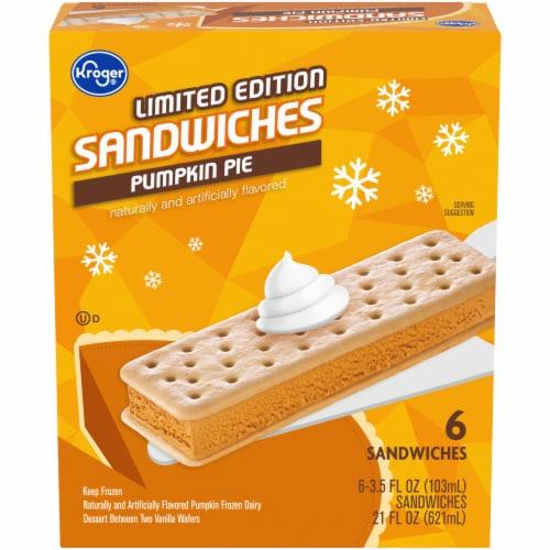 Kroger® Limited Edition Pumpkin Pie Sandwiches Frozen Dairy Dessert Perspective: front