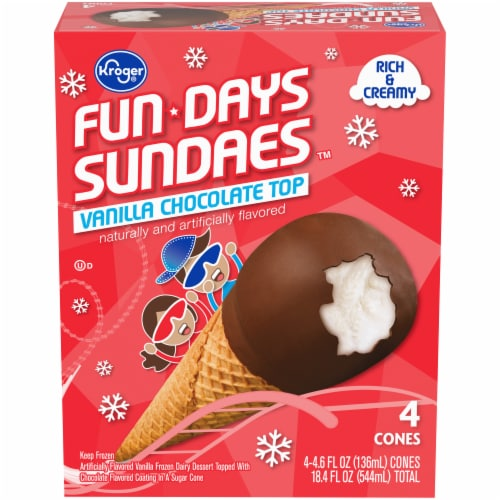 Kroger® Fundays Sundaes™ Vanilla Chocolate Top Cone Perspective: front