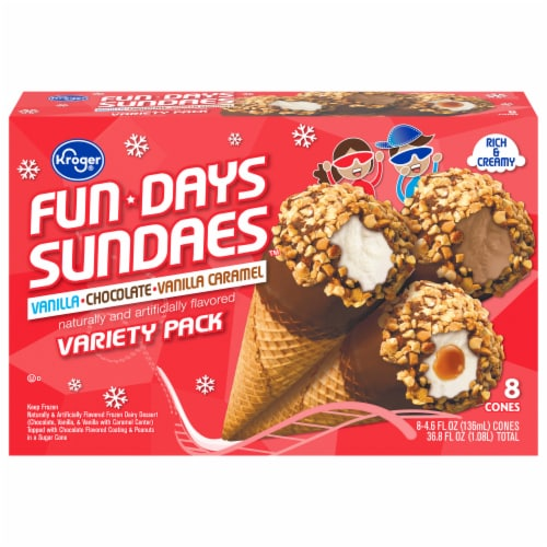 Kroger® Fundays Sundaes™ Variety Pack Cone Perspective: front