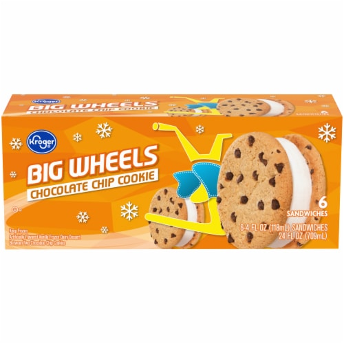 Kroger® Big Wheels Vanilla and Chocolate Chip Round Ice Cream Sandwiches Perspective: front