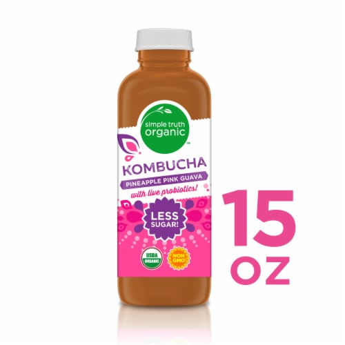 Simple Truth Organic™ Pineapple Pink Guava Kombucha Perspective: front