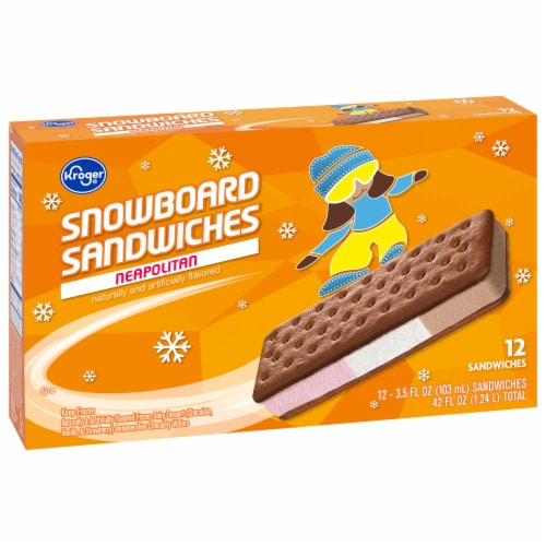 Kroger® Snowboard Neapolitan Ice Cream Sandwiches Perspective: front