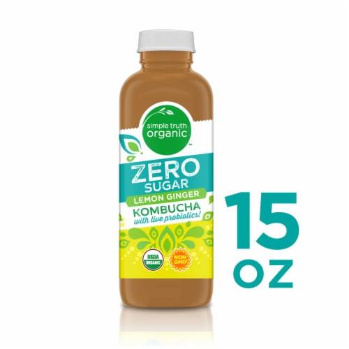 Simple Truth Organic™ Zero Sugar Lemon Ginger Kombucha Perspective: front