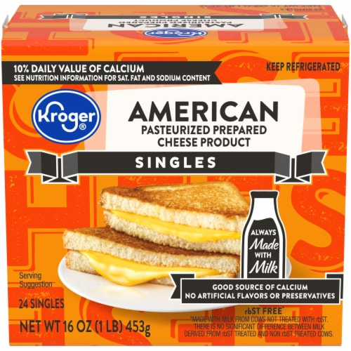 Kroger® American Pasteurized Prepared Cheese Product Singles Perspective: front