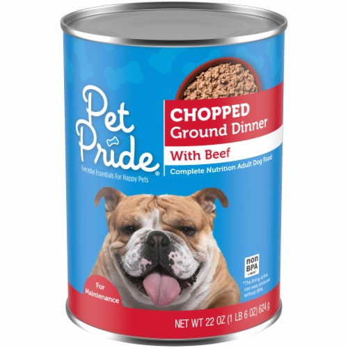 Pet Pride Chopped Ground Dinner with Beef Perspective: front