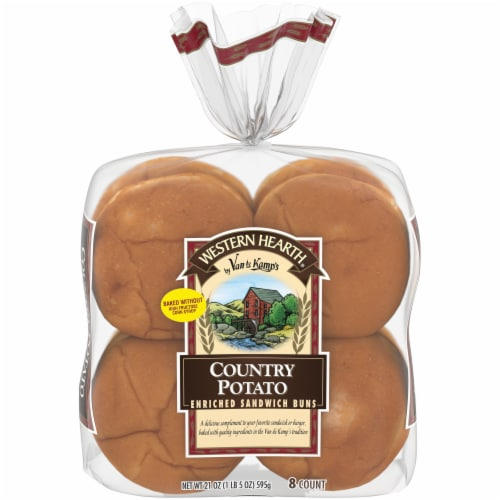 Western Hearth® Country Potato Extra Large Enriched Sandwich Buns Perspective: front