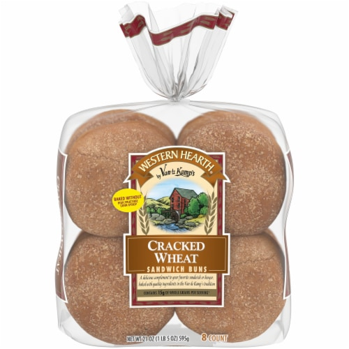 Western Hearth Extra Large Cracked Wheat Sandwich Buns Perspective: front