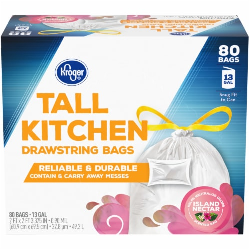 Kroger® Island Nectar Scent 13 Gallon Tall Kitchen Drawstring Trash Bags Perspective: front