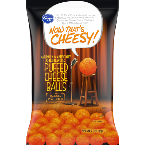 Kroger® Now That's Cheesy! Puffed Cheese Balls Perspective: front