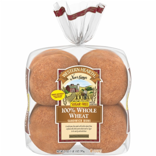 Western Hearth® Sugar Free 100% Whole Wheat Extra Large Sandwich Buns Perspective: front