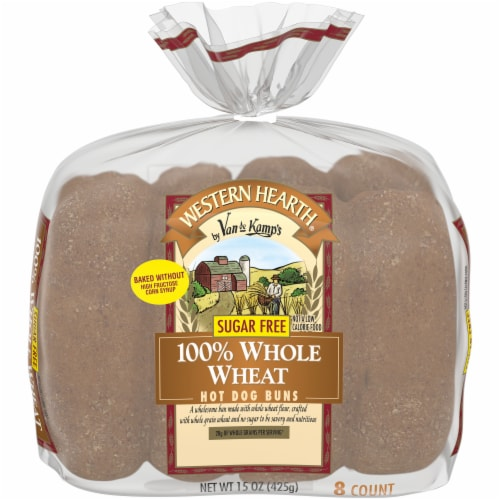 Western Hearth® Sugar Free 100% Whole Wheat Extra Large Hot Dog Buns Perspective: front