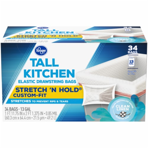 Kroger® Clean Linen Scent Tall Kitchen 13 Gallon Elastic Drawstring Trash Bags Perspective: front