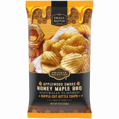 Private Selection® Applewood Smoke Honey Maple BBQ Ripple-Cut Potato Chips Perspective: front