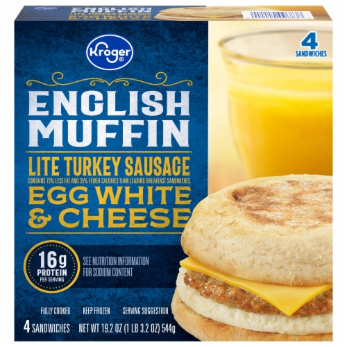 Kroger® Lite Turkey Sausage Egg White & Cheese English Muffin Perspective: front