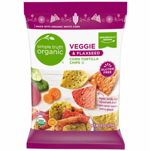 Simple Truth Organic® Veggie & Flaxseed Corn Tortilla Chips Perspective: front