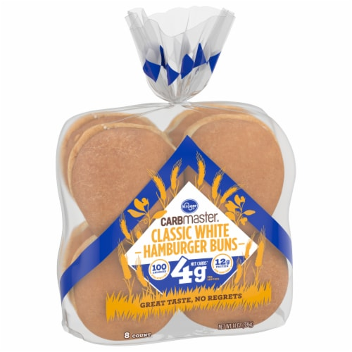 Kroger® CarbMaster® Classic White Hamburger Buns Perspective: front
