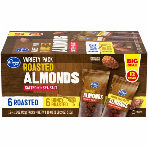 Kroger® Roasted Almonds Salted with Sea Salt Variety Pack Perspective: front