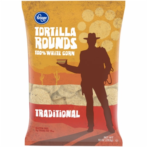 Kroger® Traditional White Corn Round Tortilla Chips Perspective: front