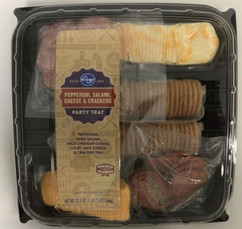 Kroger® Pepperoni Salami Cheese and Crackers Party Tray Perspective: front
