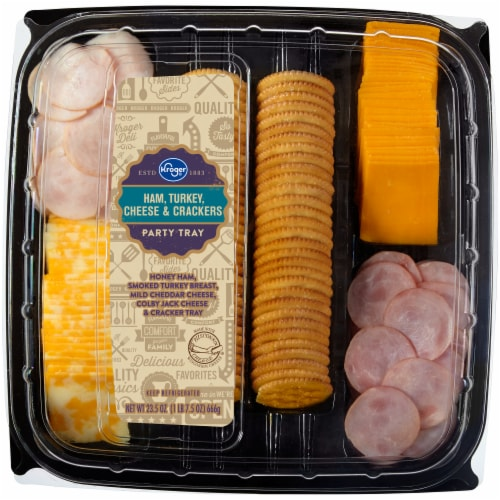 Kroger® Ham Turkey Cheese & Crackers Party Tray Perspective: front