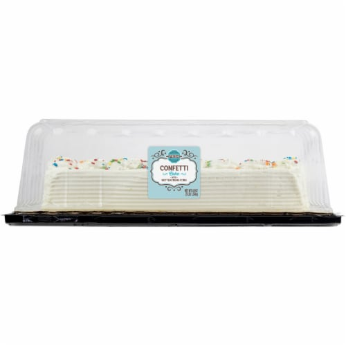 Bakery Fresh Goodness Confetti 1/4 Sheet Cake with Buttercream Icing Perspective: front