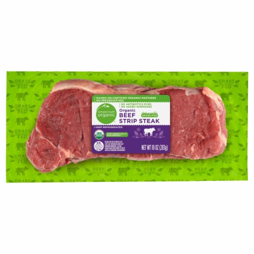 Simple Truth Organic® Grass Fed Beef Strip Steak Perspective: front