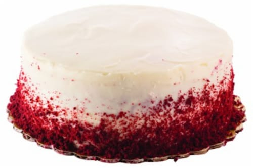 Bakery Fresh Goodness Round Single Layer Red Velvet Cake with Cream Cheese Icing Perspective: front