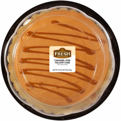Bakery Fresh Goodness Caramel Iced Yellow Cake with Caramel Drizzle Perspective: front