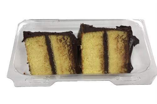 Bakery Fresh Yellow Cake With Fudge Icing Slice Perspective: front