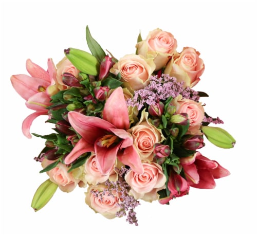 BLOOM HAUS™ Elegant Pink Rose Boquet Perspective: front