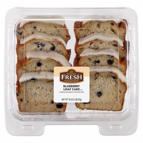Bakery Fresh Goodness Sliced Blueberry Loaf Cake Perspective: front