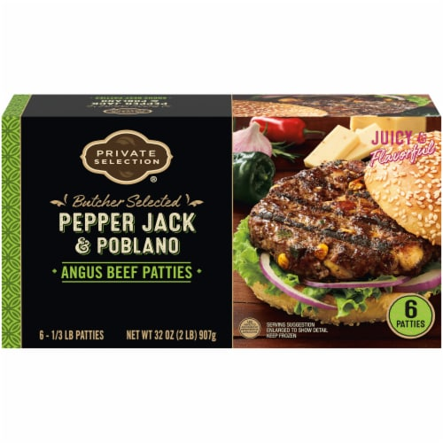 Private Selection® Pepper Jack & Poblano Angus Beef Patties Perspective: front
