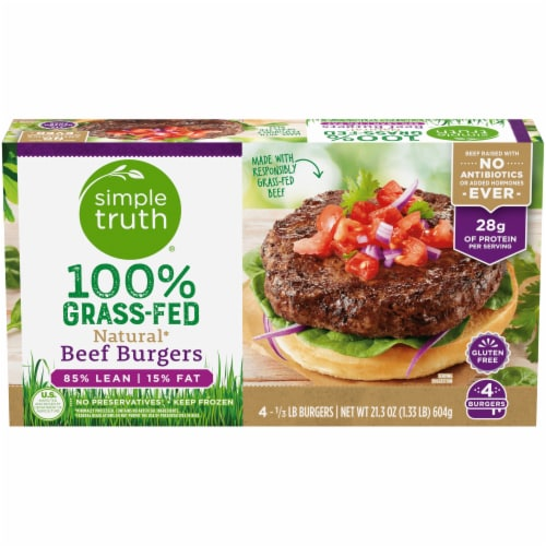 Simple Truth® 100% Grass-Fed Natural Beef Burgers Perspective: front