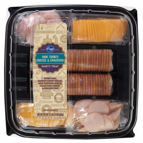 Kroger Ham Turkey Cheese & Crackers Tray Perspective: front