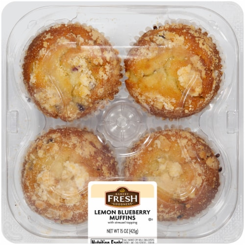 Bakery Fresh Goodness Lemon Blueberry Muffins Perspective: front